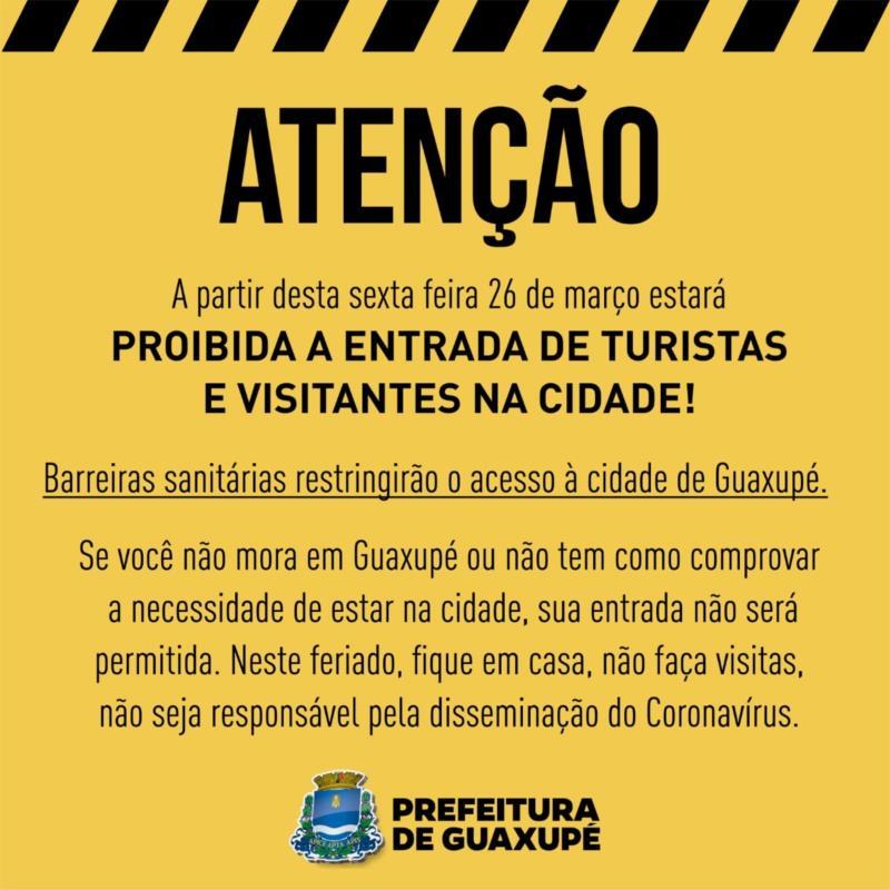 A partir desta sexta-feira, 26, barreiras sanitárias serão instaladas em Guaxupé